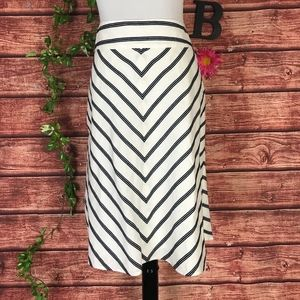 Talbots Skirt 8 Linen White Black Striped Knee